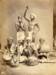 Group of jugglers and musicians, Madras